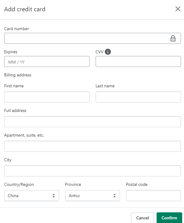 shopify虚拟信用卡