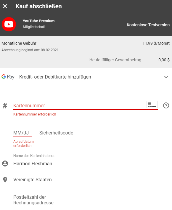 youtube虚拟信用卡