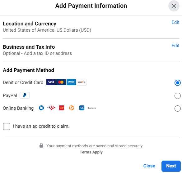 虚拟信用卡facebook