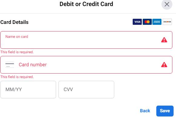 facebook虚拟信用卡