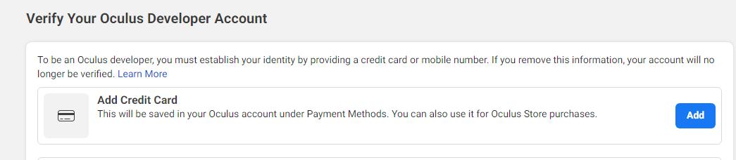 oculus虚拟信用卡